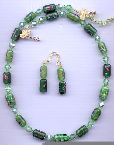 Japanese Green Millefiori and Swarovski Fuchsia Necklace and Earrings