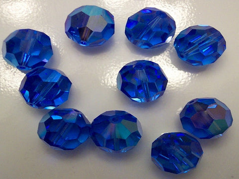 #39/5300 Sapphire AB 9mm and 11mm Round Crystals (lot of 12)