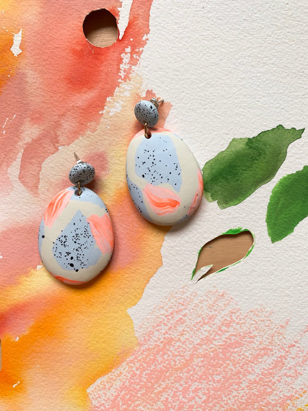 Alp Blue and Bone Ink Drop Earrings