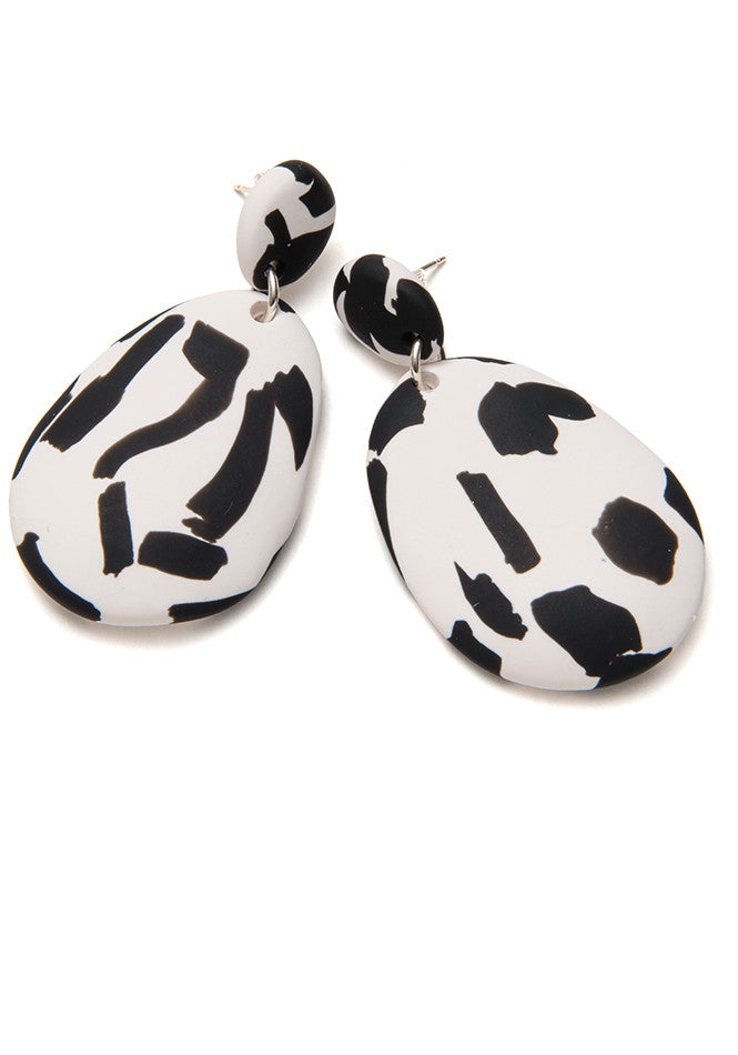 Black and White Texta Drop Earrings