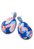 Blue and Peach Ink Drop Earrings