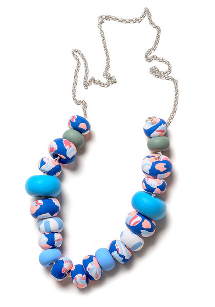 Blue and Peach Ink Limited Edition Big Bead Necklace