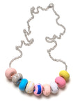 Blue and Rose Tape 9 Bead Necklace