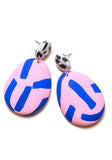 Blue and Rose Tape Drop Earrings