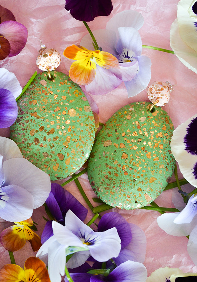 Blush and Fern Terrazzo Drop Earrings