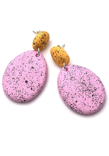 Buttercup Yellow and Fondant Pink Speckle Drop Earrings