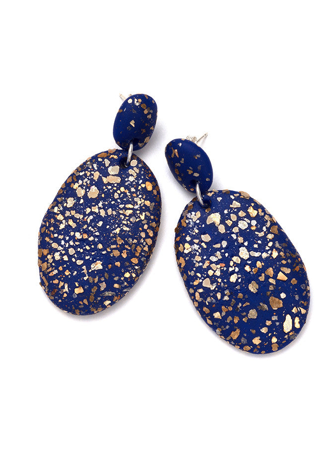 Cobalt Blue Terrazzo Drop Earrings