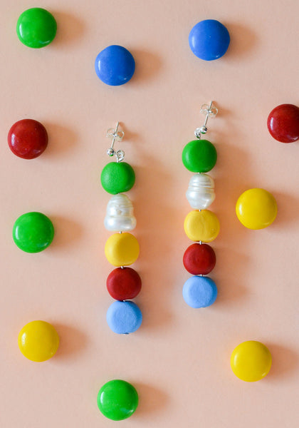 Primary Plus Beaded Pearl Drop Earrings
