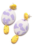 Buttercup Speckle and Lilac Texta Drop Earrings