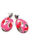 Lipstick Pink Collage Drop Earrings