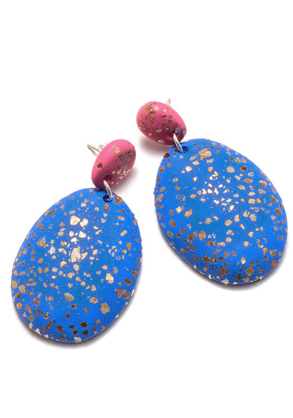 Lipstick and Periwinkle Terrazzo Drop Earrings