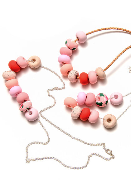 Salmon Pink Ink 9 Bead Necklace