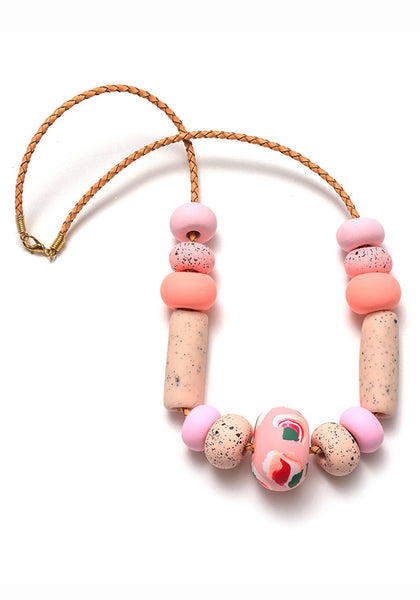 Salmon Pink Ink Big Bead Necklace