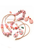 Paprika and Salmon Pink Terrazzo Drop Earrings