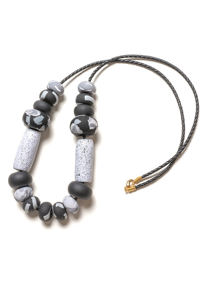 Noir Tape Big Bead Necklace