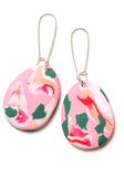 Salmon Pink Ink Drop Earrings