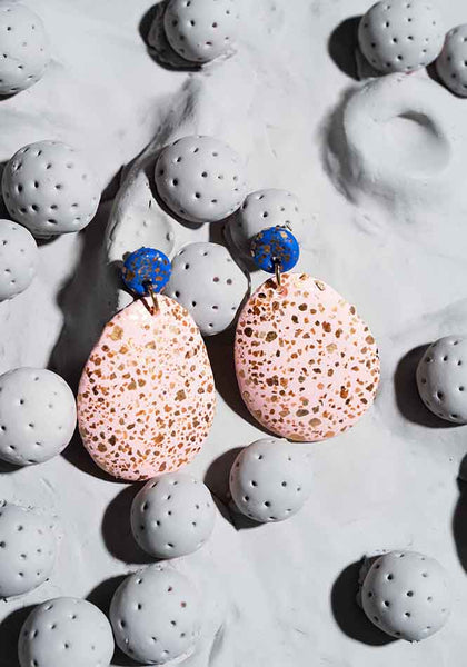 Turkish Sea Blue and Shell Pink Terrazzo Drop Earrings