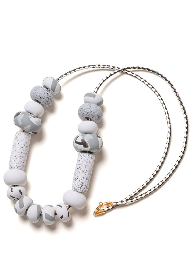 White and Fog Grey Tape Big Bead Necklace