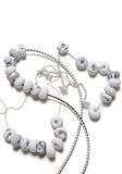 White and Fog Tape 9 Bead Necklace