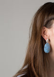 White and Icelandic Blue Terrazzo Drop Earrings