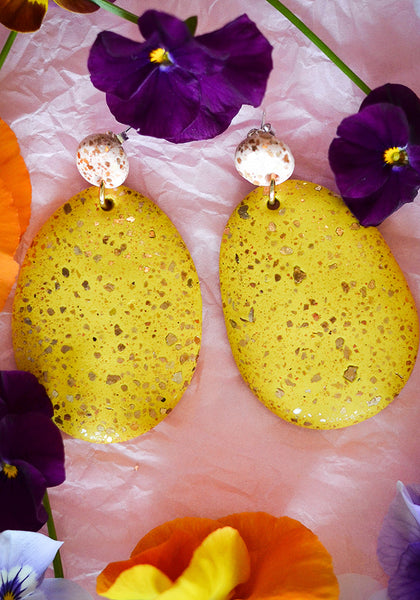 Blush and Pollen Terrazzo Drop Earrings