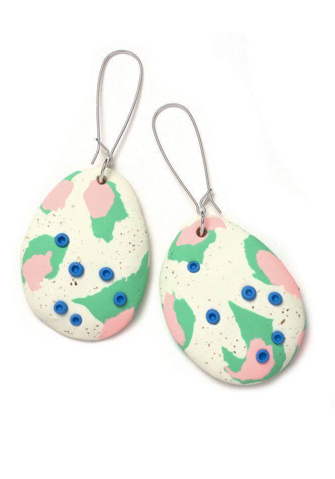 Bone and Spearmint Painterly Drop Earrings