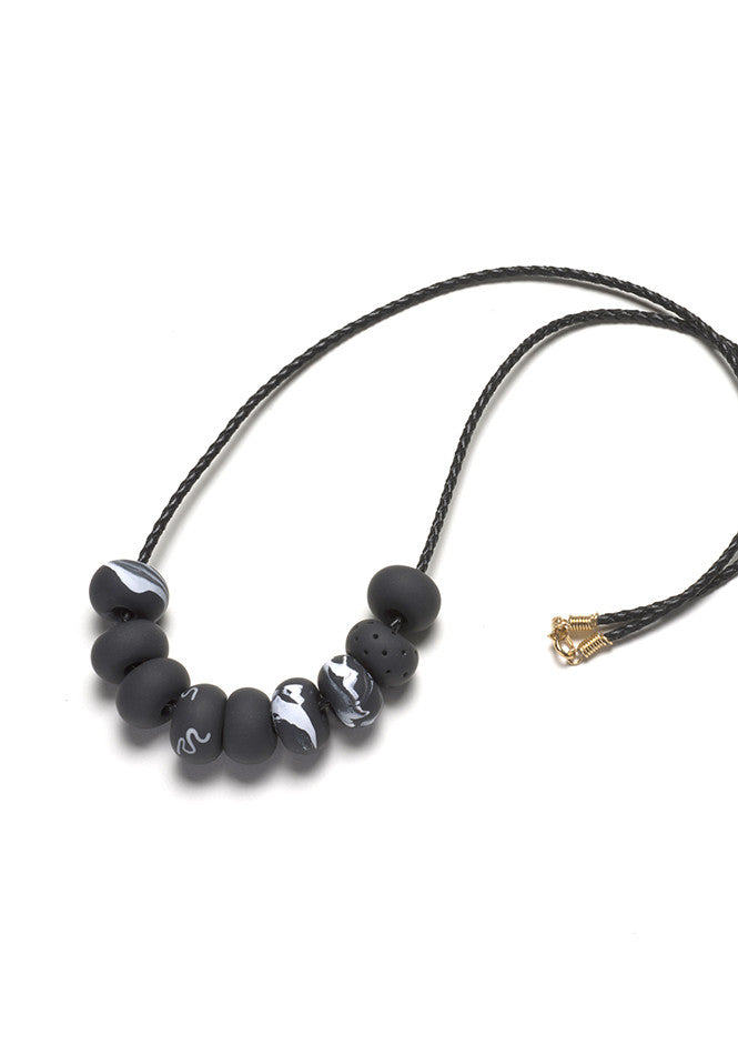 Black Marble 9 Bead Necklace