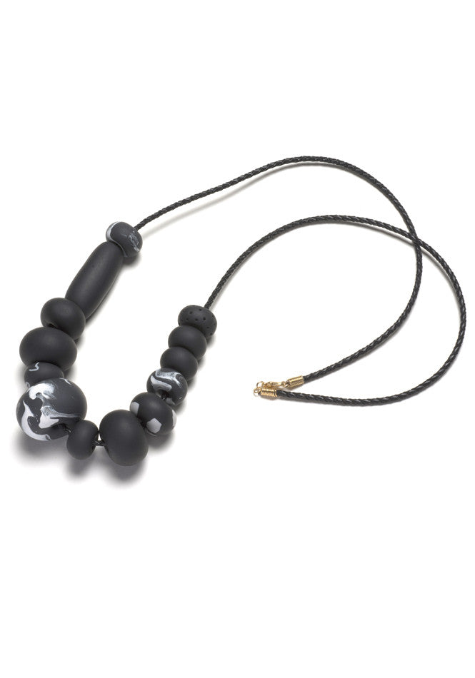 Black Marble Big Bead Necklace