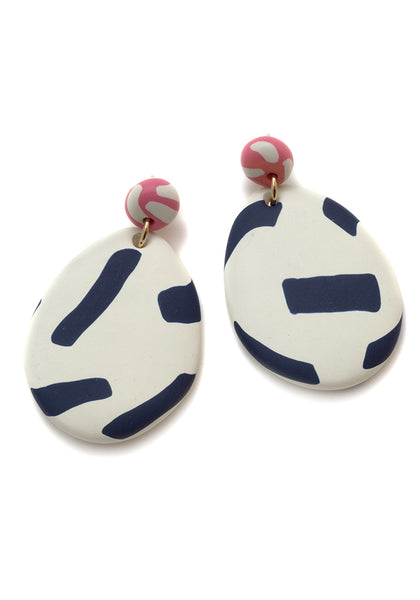Bone and Navy Tape Drop Earrings