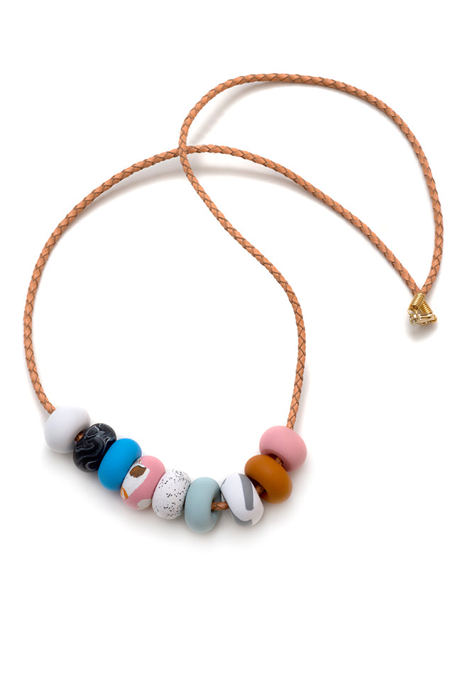 Caramel Ink 9 Bead Necklace