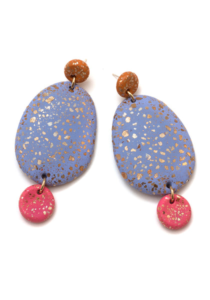 Caramel, Wisteria and Lipstick Terrazzo Drop Earrings