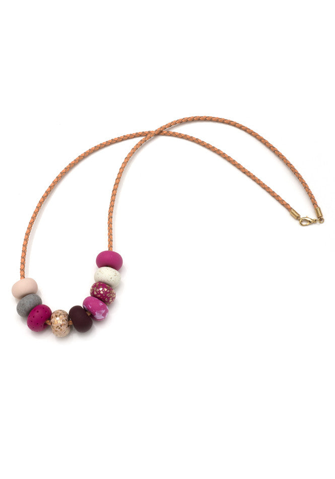 Gossling Harvest of Gold Raspberry 9 Bead Necklace