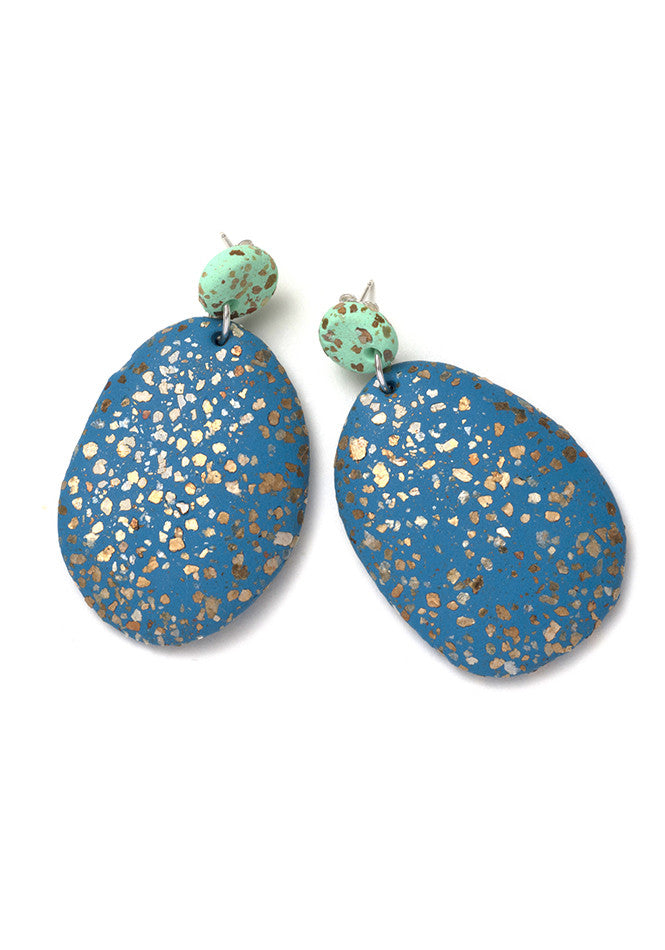 Mint and Peacock Terrazzo Drop Earrings
