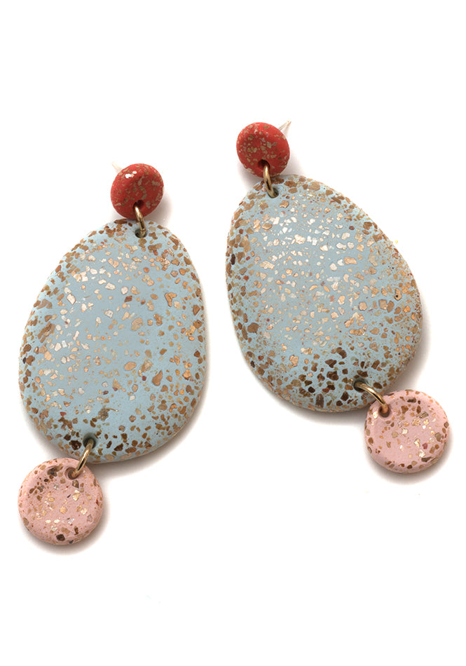 Paprika, Alp and Blush 3-Part Terrazzo Drop Earrings