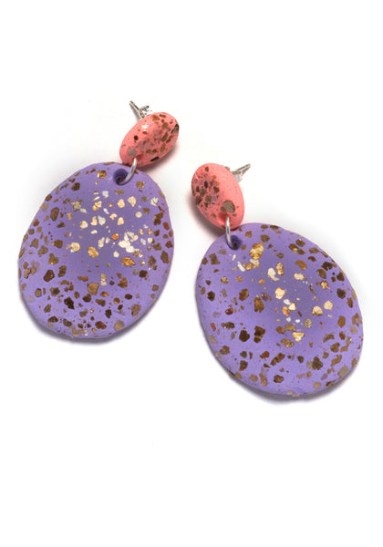 Peach and Lilac Terrazzo Drop Earrings