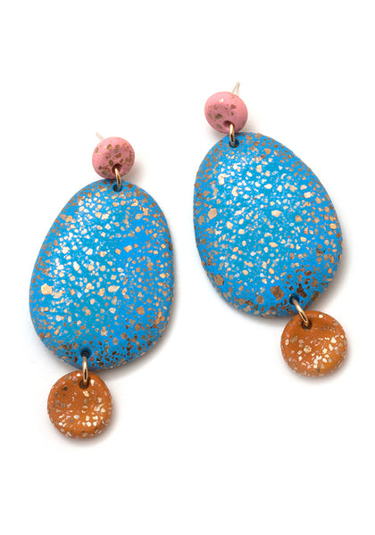 Tea Rose, Bright Blue and Caramel 3-Part Terrazzo Drop Earrings