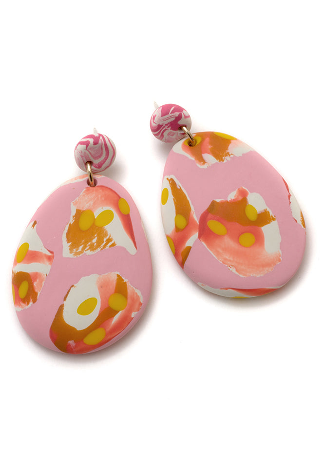 Tea Rose Ink Drop Earrings