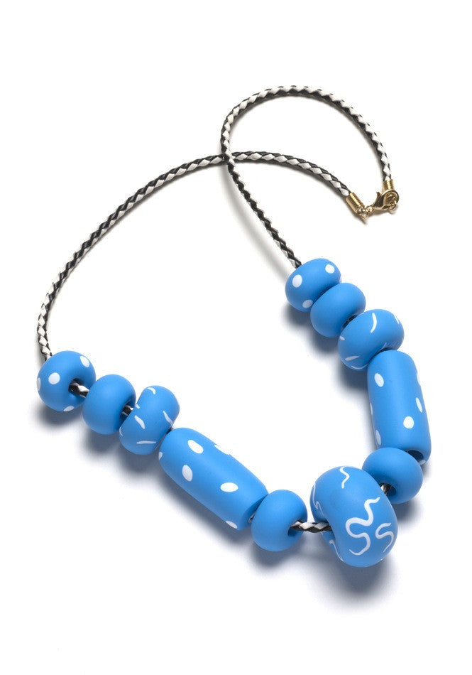 Valentina Big Bead Necklace in Bright Blue