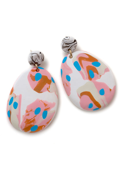 White and Caramel Ink Drop Earrings