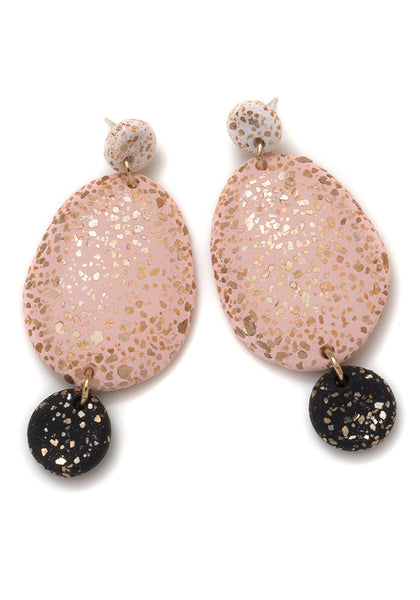 White, Blush and Black 3-Part Terrazzo Drop Earrings