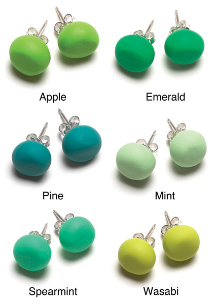 Green Tone Stud Earrings