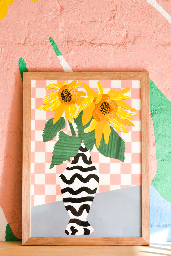 Sunflower Collage Giclee Print
