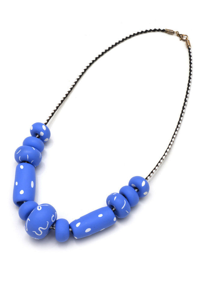 Valentina Big Bead Necklace in Cornflower Blue