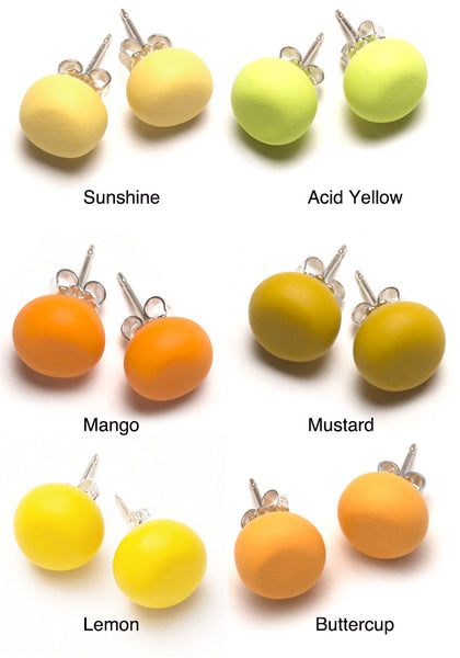 Yellow Tone Stud Earrings
