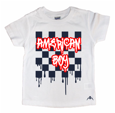 AMERICAN BOY/AMERICAN GIRL Drip checker tees