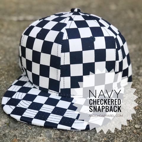 Checkered SnapBack (NAVY ONLY) available