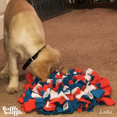 Laika the Golden Retriever pup and her Ruffle Snuffle mat