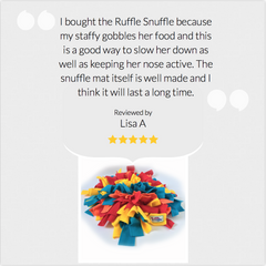 5 Stars from Lisa and her staffy!