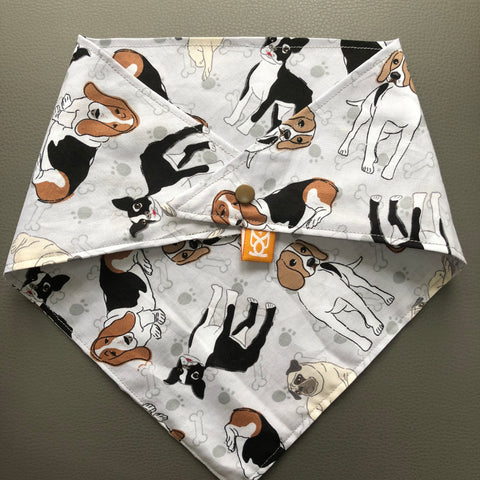 Dog Bandana - Beagles, Bassets, Boston & a Pug! - snuffle mat by Ruffle Snuffle