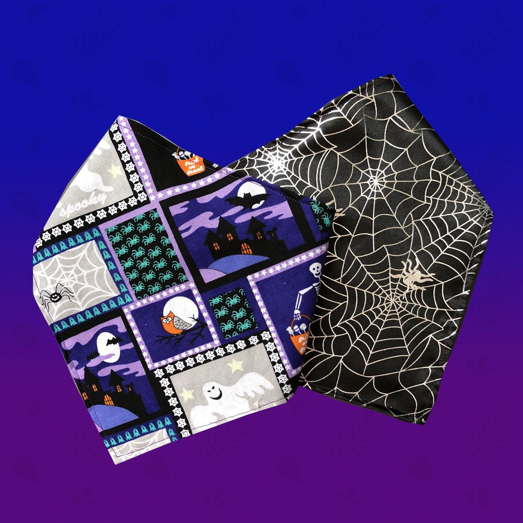 Witches & Cobwebs Reversible Dog Bandana - snuffle mat by Ruffle Snuffle